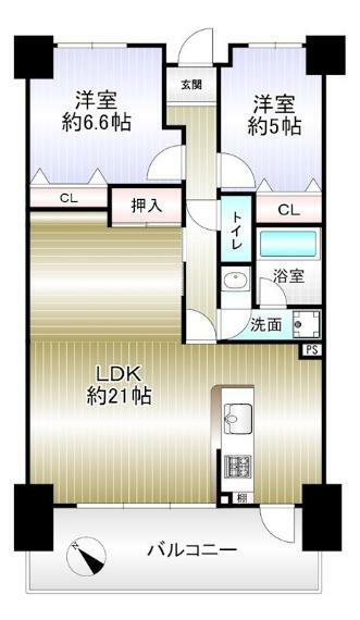 間取り図 2LDK 専有面積72.27平米 バルコニー13.11平米