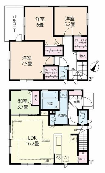 間取り図 収納豊富な4LDK+2WIC、階段下パントリーやリネン庫など適材適所に収納が配置された心地よい住空間をサポートする間取りとなっています、土地124.99m2、建物94.18m2、ウッドデッキ付