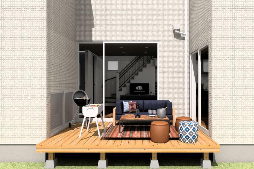 【のぞみが丘・関津 66号地モデルハウス】 開放感とプライバシーを両立した、中庭のウッドデッキ。 ※画像はパース