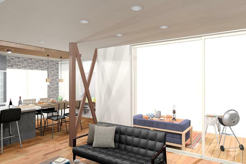 【のぞみが丘・関津 66号地モデルハウス】 天井いっぱいまでのハイサッシで開放感ある空間に。窓の向こうにはウッドデッキが広がります。 ※画像はパース