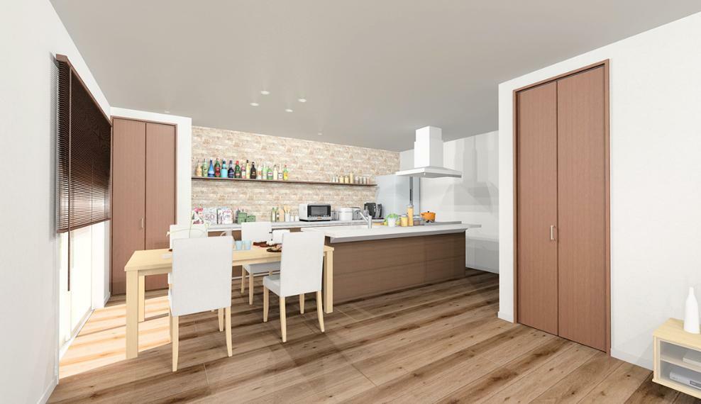 【のぞみが丘・関津 36号地モデルハウス】 オープンキッチンで家族の会話が弾む家。 こちらも完成!ご見学頂けます。 ※画像はパース