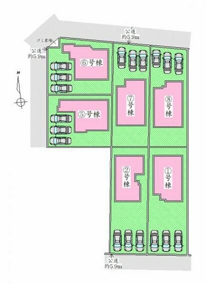 区画図 区画図 駐車場並列3台