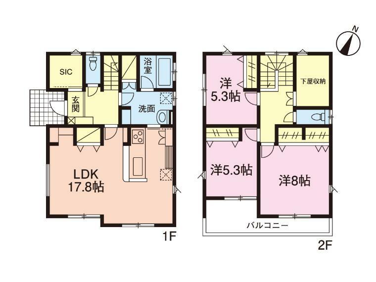 間取り図 4号棟間取図・3LDK+SIC+下屋収納(96.88平米・29.25坪)
