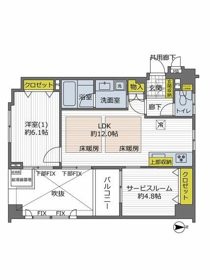 間取り図 廊下が玄関ホールになっており居室の有効面積が広い間取り