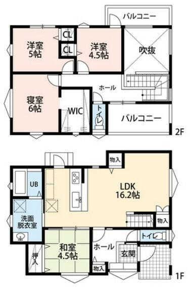 間取り図 2号棟・4LDK・2900万円・土地135.74平米・建物99.82平米