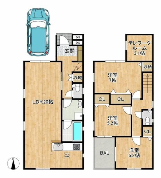専用部・室内写真 3LDK+テレワークルーム 土地面積:28.04坪 建物面積:29.64坪 お気軽にお問い合わせ下さい。