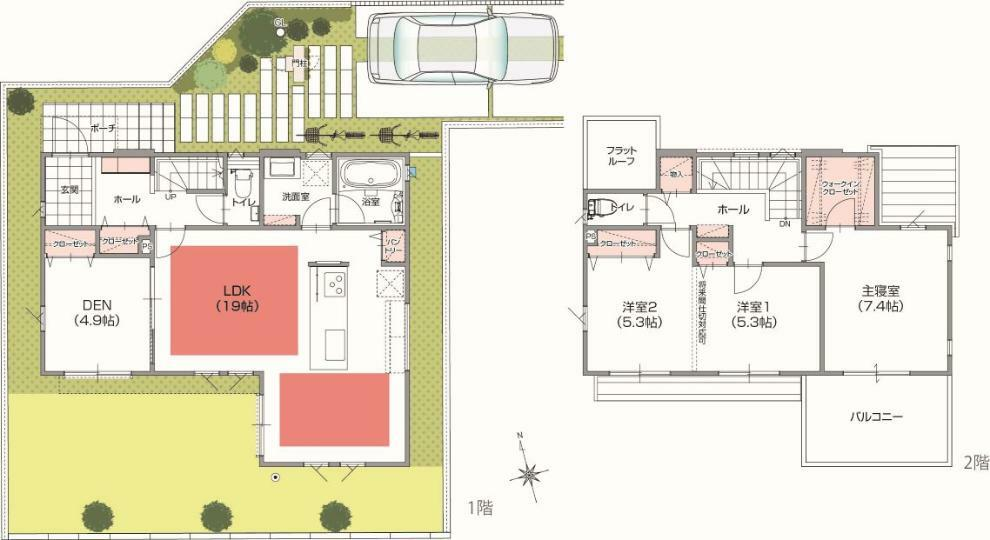 間取り図 【PRAIRIE SQUARE】8号棟 つながる家 LDKと洋室との繋がりから広く開放感のある空間を、2階ホールとの繋がりから家族の居場所が感じられる邸宅。 3(4)LDK+SIC+WIC