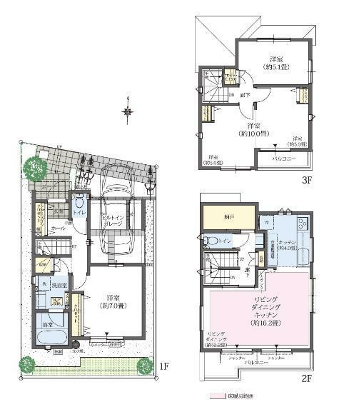 間取り図 2号棟/3LDK(4LDK対応可※有償) 敷地面積/75.33平米 建物面積/106.81平米※車庫面積8.69平米含む