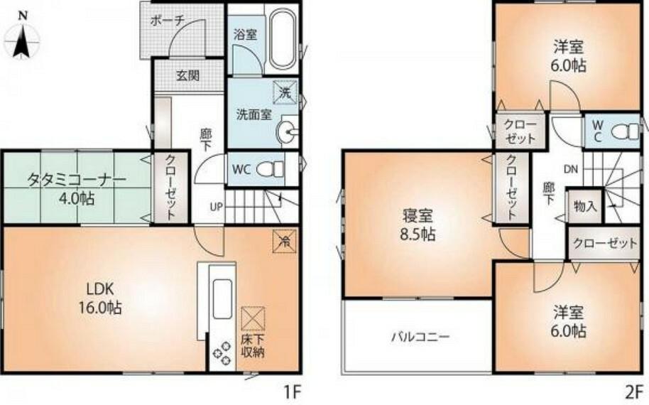 間取り図 全居室収納付き、車庫2台。角地の3LDKプラスタタミコーナーのある建物間取り図。