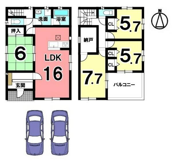 間取り図 南向きの光あふれる物件です。 全室に収納スペースを確保しました。 並列で2台駐車可能です。