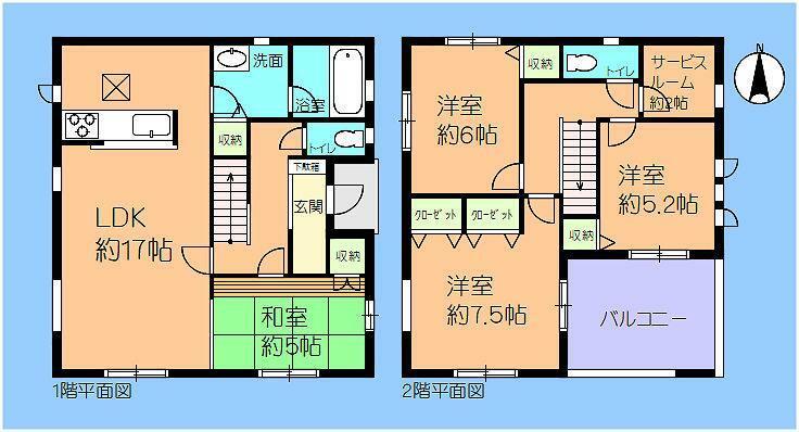 間取り図 7号棟 東南角地 4LDK+サービスルーム