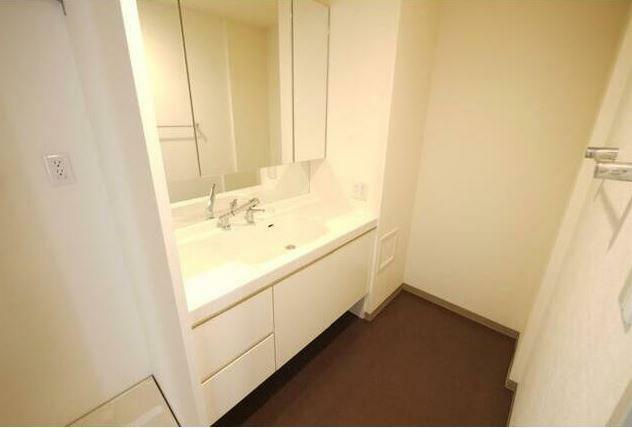 洗面化粧台 シャワー付きの洗面化粧台。