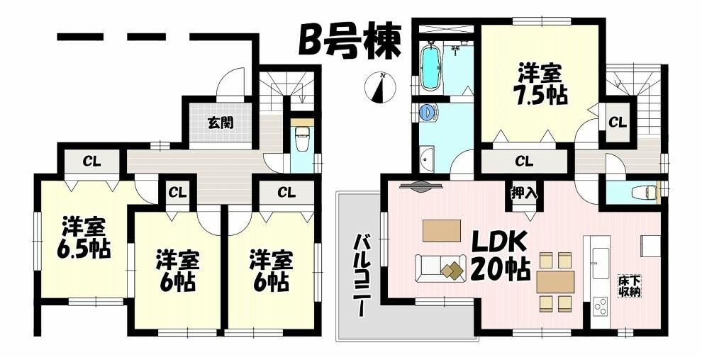 間取り図 広々LDK20帖は2階に設置されていますので陽当りも良好です  全居室6帖以上でゆったりとお使いいただけます