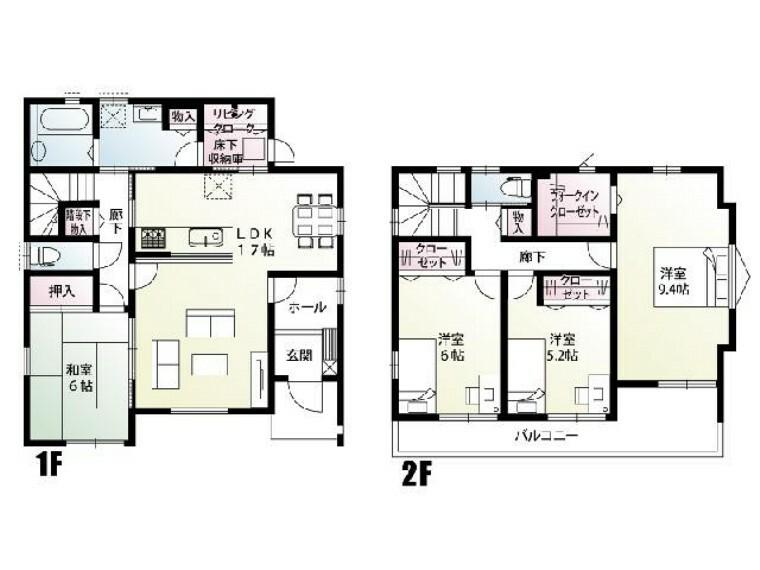 間取り図 栃木市大平町下皆川D号棟 間取り図・・・全室南向き。リビング中心の間取り。2階の全居室からバルコニーへ出入りできます。