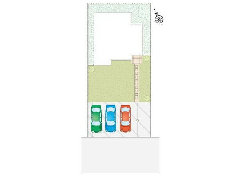 区画図 栃木市大平町下皆川D号棟 区画図・・・前面道路6m。駐車スペース3台可能