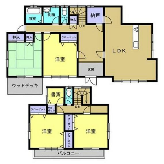 間取り図 【間取図】洋室にあったキッチンの位置を東の広間に移設し、2階の和室は洋室へ変えるなど大幅な間取り変更を行います。対面式キッチンを設置するので、ダイニング、リビングスペースを分けてご使用いただけます。