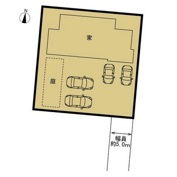 区画図 【区画図】敷地と建物の関係を表して図です。建物44坪に対し、土地が131坪あるため、お車4台止めてもお庭含め十分なスペースがあります。全室南向きなので、毎日明るく、暖かい空間で生活できますね。
