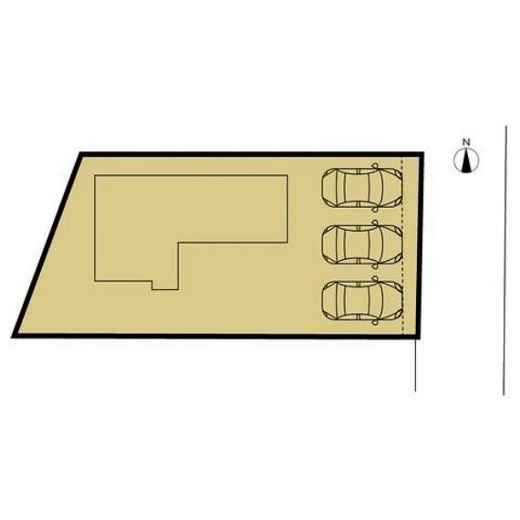 区画図 敷地図です。駐車場は並列で3台駐車可能になりました。前面道路も幅員6メートル以上の回転広場がございますので駐車も楽に行えます。
