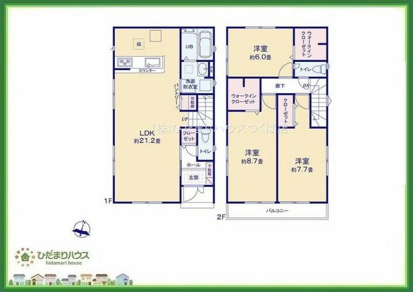 間取り図 8.7帖の主寝室!十分な広さがあるので、大切なプライベート空間を素敵に演出できます