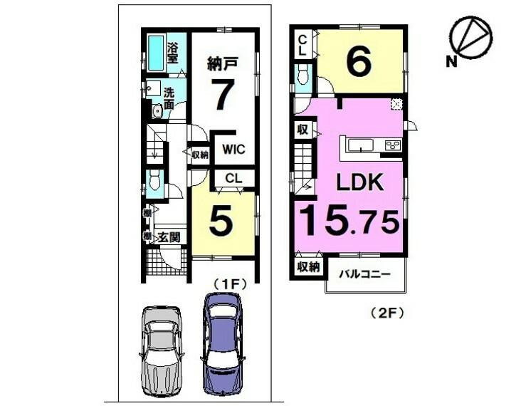 間取り図 【新築】現在建築中!2021年3月完成予定!2LDK+S!納戸7帖にWIC付き!駐車場2台分あり!