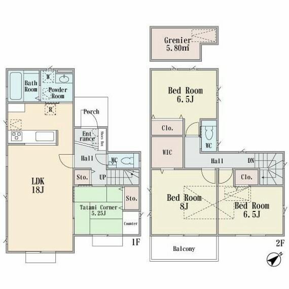 間取り図 ■全棟ENE-FARM mini搭載のエコ住宅。床暖房完備&グルニエ付など、先進の設備仕様を備えています。採光、生活動線、収納力を考慮した個性豊かなプランをご用意しております■