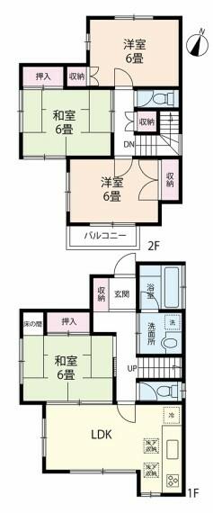 間取り図 全居室6畳あるのでゆったりとした間取りです