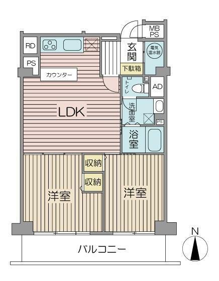 間取り図 2LDK 専有面積58.35平米 バルコニー面積8.82平米