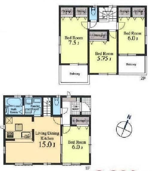 間取り図 居室4部屋の4LDKです。全居室洋室です。ベッドやソファーなど重い家具が置きやすいので、自分が過ごしやすいお部屋をコーディネートできますね。