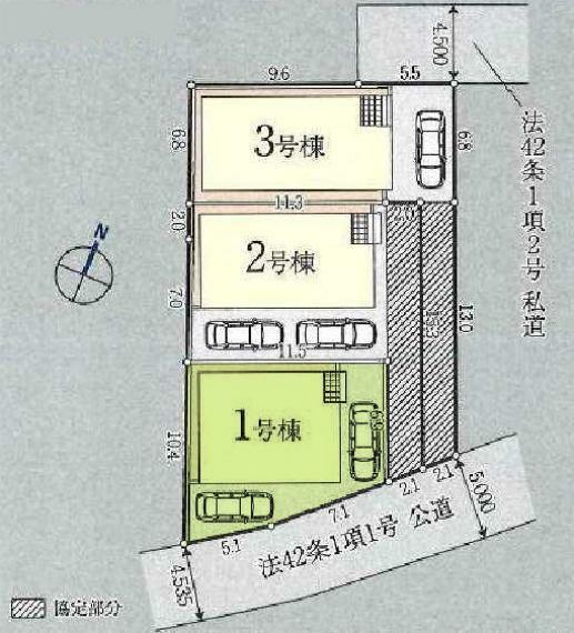 区画図 敷地面積103.91平米。カースペース2台駐車可能です。