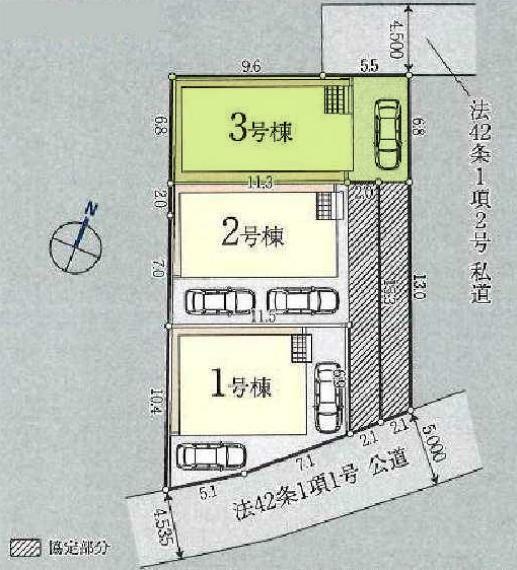 区画図 敷地面積133.79平米。カースペース1台駐車可能です。