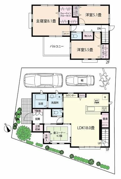 間取り図 3LDK+畳コーナー+書斎コーナー+ウォークインクローゼット
