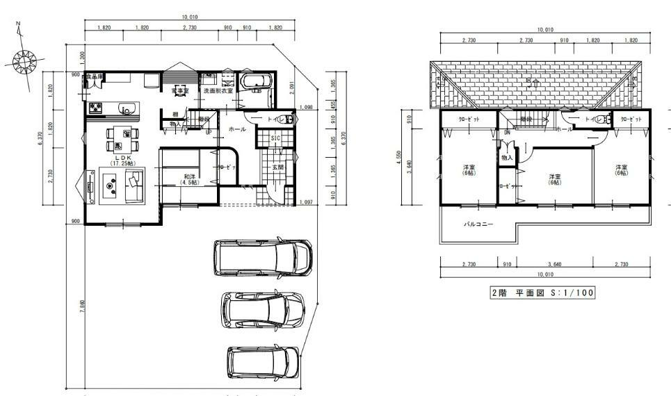 間取り図 1階 17.25LDK 和室4.5帖 2階 洋室6帖・6帖・6帖