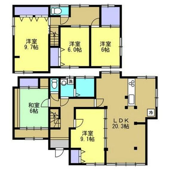 間取り図 【間取り図】間取りは5LDKの二階建てです。若い方でも住みやすいように、リフォームして洋室を増やしています。全居室南向きで明るく、整理整頓しやすい全居室収納付き。このオウチで家族との大切な思い出を作っていきませんか。