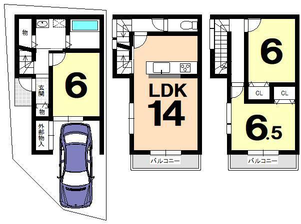 土地図面 建物プラン例(建物価格1710万円、建物面積83.2m2)