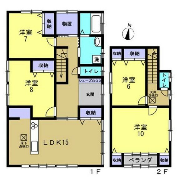 間取り図 【リフォーム済】4SLDK、駐車並列3台、2階バルコニー付。