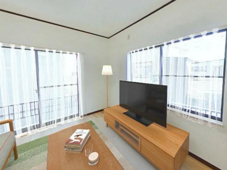 居間・リビング 【リフォーム済】リビングに家具を配置した場合の合成写真。