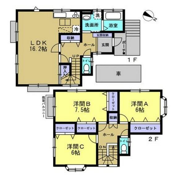 間取り図 【リフォーム後】ご夫婦二人で住むのに快適な3LDK住宅。お二階には贅沢な全室収納付き洋室が配置されており趣味部屋として重宝します。寝室は東側から採光が取れるお部屋です。