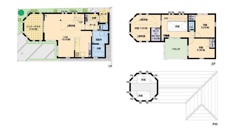 参考プラン間取り図 多角形塔屋と吹抜けリビングのある家 ※当社施工例間取り図