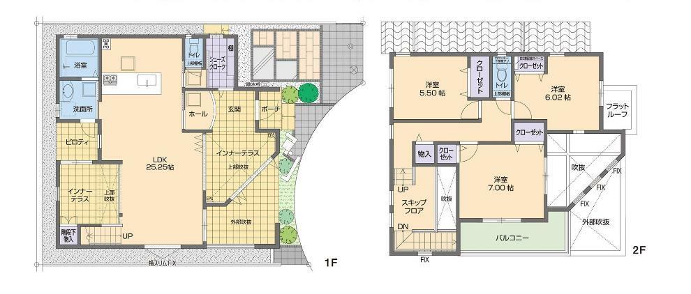 参考プラン間取り図 大きなインナーテラスのある家 ※当社施工例間取り図