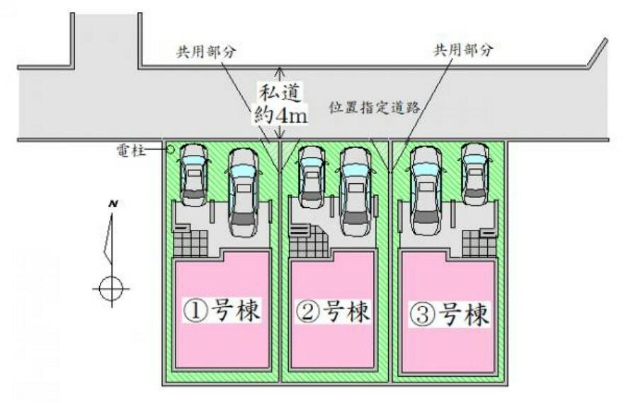 区画図 全体配置図 並列2台駐車可能ゆとりのカースペース