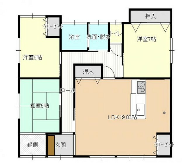 間取り図 【リフォーム後間取図】間取は3LDKの平家建てです。全室6帖以上で十分な部屋数がありますので、ご家族でも住みやすい住宅です。