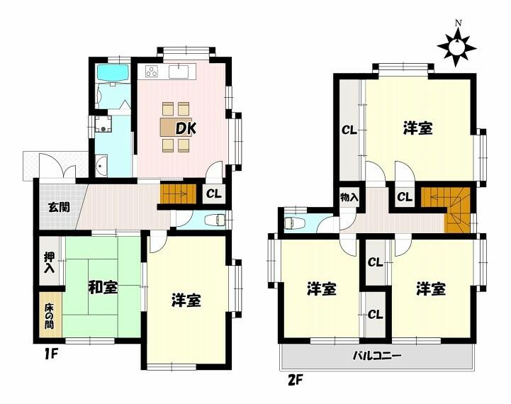 間取り図 5DKの再生住宅 収納充実 南向きバルコニー くつろげる和室あり