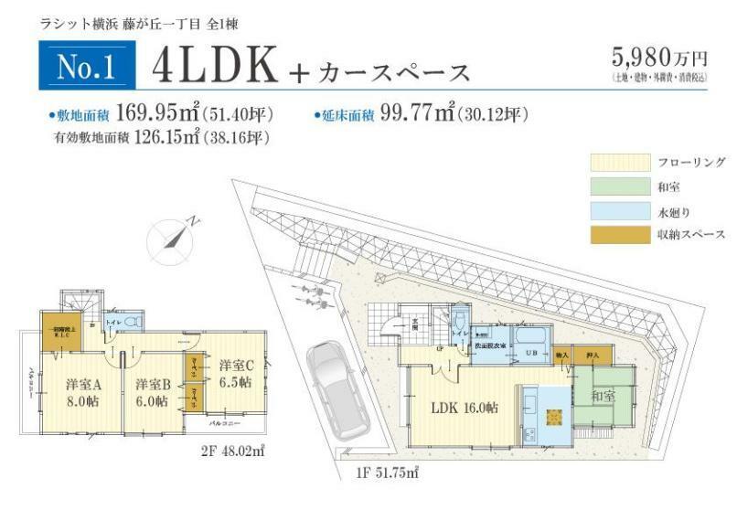 間取り図 (No.1間取りプラン)、価格5980万円、4LDK、土地面積169.95m2、建物面積99.77m2