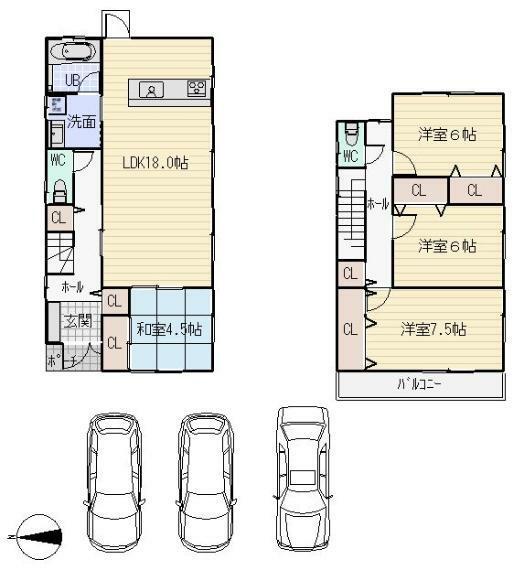 参考プラン間取り図 建物参考プラン:1号地 建物価格 1880万円(建物消費税込み)土地建物セット価格 2,980万円