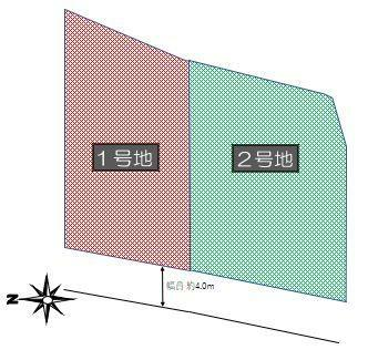 土地図面 区割図:デルソーレ中山町1号地 土地価格 975万円、2号地 1,035万円(建築条件付き)
