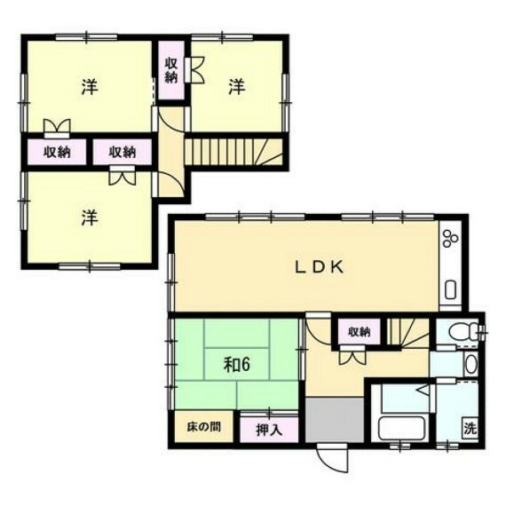 間取り図 リフォーム後間取り図。ダイニングキッチンと隣の6畳和室を繋げて家族が集まるLDKを造り、4LDKの間取りへ変更しました。