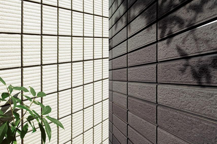 構造・工法・仕様 タイル外壁 1.塗り替えがずっと不要な外壁。 2.存在感のある質感がいつまでも続く外壁材。 ※1.目地部材の交換は必要です。