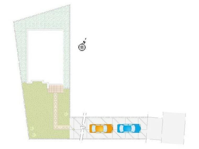 区画図 配置図・・・土地81坪!!広々とした敷地でお庭付き!駐車2台可能です