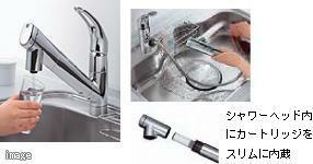 【浄水器内蔵ハンドシャワー水栓】 シンク内清掃もラクラクできるハンドシャワータイプを採用。浄水カートリッジ内蔵型で、カルキ臭などを除去します。シャワーヘッドが引き出せるので、シンク内のお手入れもカンタンです。