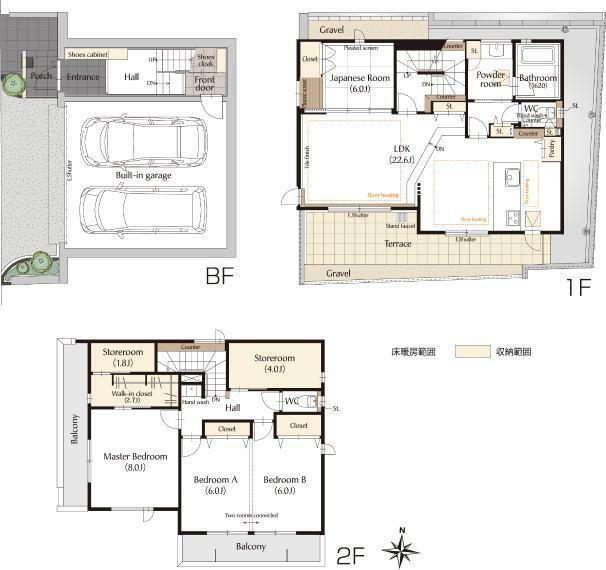 間取り図 【間取り図】 4LDK・ビルトインガレージ・WIC・パントリー・2小屋裏収納。 延床面積174.42m2(52.76坪)、※車庫部分38.98m2(11.79坪)含む、住宅部分135.44m2(40.97坪)